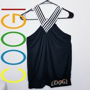 COOGI BLACK STRAPS GORGEOUS BLOUSE WITH KEYHOLE